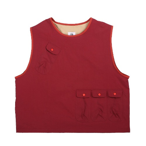 [DARENIMO] POCKET CAMP VEST (Burgundy)