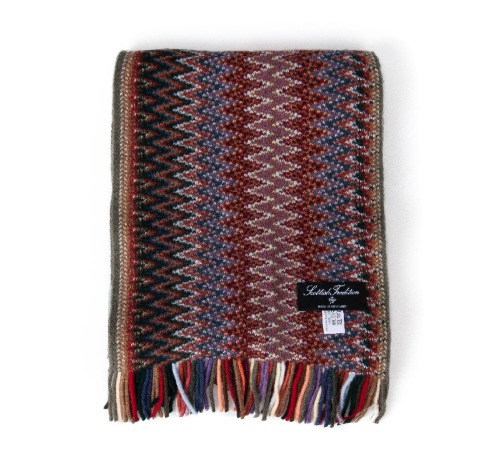 [스코티쉬 트레디션] SCOTTISH TRADITION - Lambswool Knitted Zigzag Scarf [Amazon]