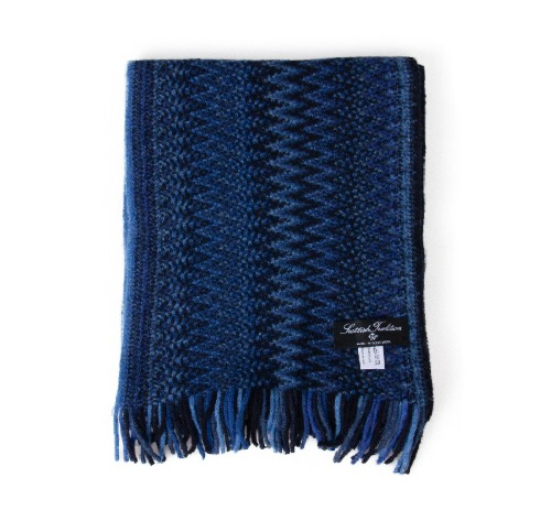 [스코티쉬 트레디션] SCOTTISH TRADITION - Lambswool Knitted Zigzag Scarf [Sapphire]