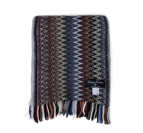 [스코티쉬 트레디션] SCOTTISH TRADITION - Lambswool Knitted Zigzag Scarf [Cappuccino]