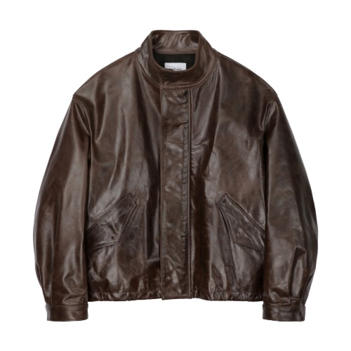 [Art if acts] High Neck Collar Leather Jacket_Brown