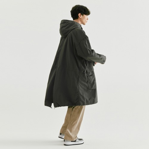 [NODE] Hooded Fishtail Parka_Charcoal grey