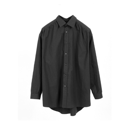 [Paniyakiett] Shirring shirt. LS_Black