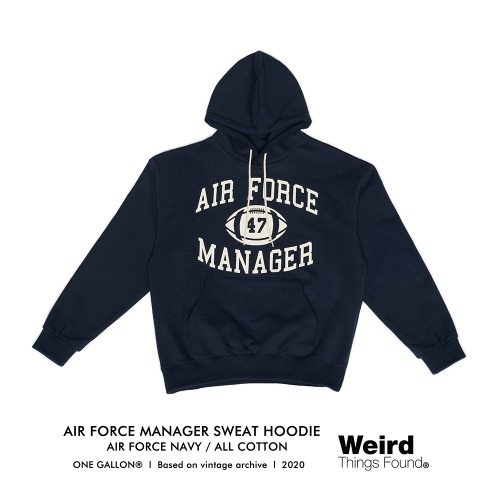 [Weird Things Found] AIR FORCE MANAGER SWEAT HOODIE_Navy