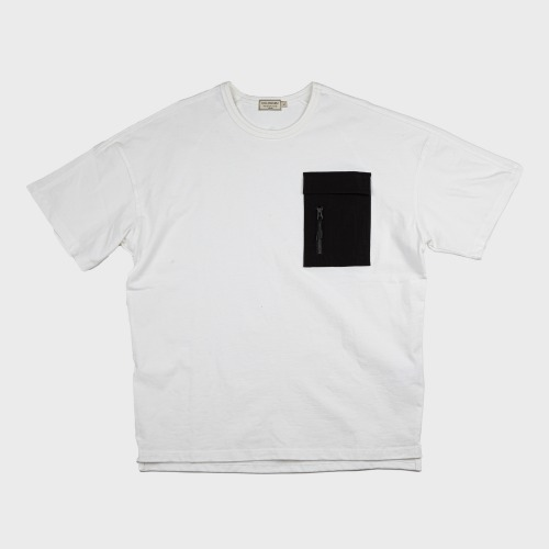 [COLD WARM] NYLON POKET-T OFF_White/Black
